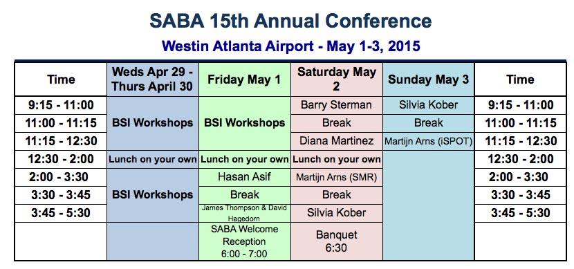 SABA 2015 Schedule